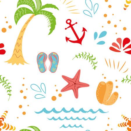 Patrón de vacaciones de verano de vector transparente dibujado a mano palmera seastar ancla colores de verano sobre fondo blanco Plantilla de diseño divertido lindo para texturas de papel tapiz tela textil paquete diseño envoltura de tela