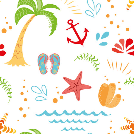 Seamless vector summer vacation pattern hand drawn palm tree seastar anchor summer colors on white background Cute funny design template for wallpaper textures fabric textile package design wrap cloth