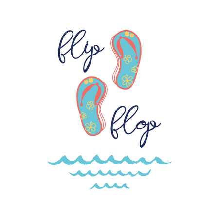 Text flip flop Vector inspirational vacation and travel quote with summer shoes blue waves Typographic banner for card, invitation, print, label, sign, icon, poster, postcard Summer