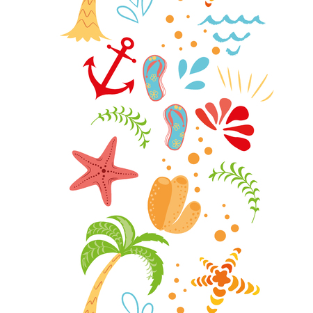 Seamless vector summer vacation border hand drawn palm tree seastar anchor summer colors on white background Cute funny design template for wallpaper textures fabric textile package design wrap cloth Illustration