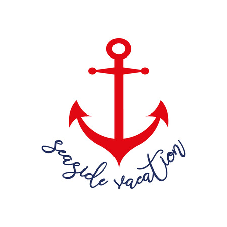 Text Seaside vacaion Vector inspirational vacation and travel quote decorated red anchor Typographic banner for card, invitation, print, label, sign, icon, poster, postcard Summer holiday Иллюстрация