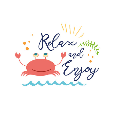 Cute summer vacation text Relax and Enjoy with hand drawn doodle summer icons crab Zdjęcie Seryjne