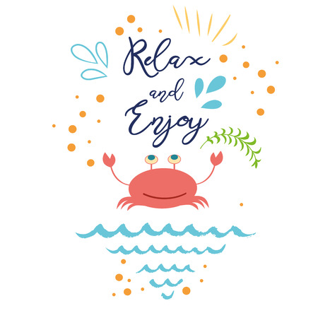 Funny summer vacation text Relax and Enjoy with hand drawn doodle summer icons crab