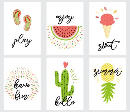 Sommer-Layout-Design, Grußkarte, Deckbuch, Banner, Poster, Schablonendesign, Vektorillustration