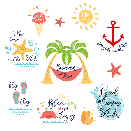 Set of tropical summer vacation icons, logos in vector Summer design, greeting card Stock Illustratie