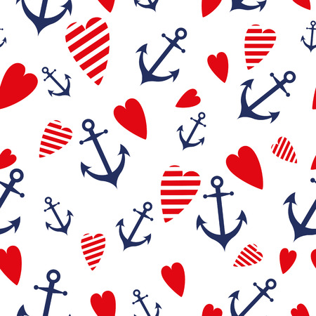 Sea marine vector seamless patterns anchor heart blue red sea trip backgrounds.