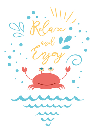 Funny summer vacation phrase Relax and Enjoy with hand drawn doodle summer icons crab sea elements 写真素材
