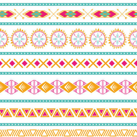 Seamless tribal ethnic vector pattern Aztec abstract background Mexican ornamental texture in bright pink orange colors Illustration