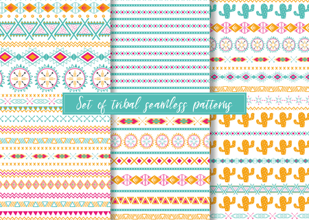 Set of six ethnic seamless patterns. Aztec geometric backgrounds. Stylish navajo design. Banco de Imagens