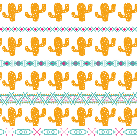 Seamless tribal ethnic pattern Aztec background with cactus Mexican ornamental texture in bright pink orange colors vector Stock Photo