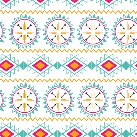 Seamless tribal ethnic pattern Aztec abstract background Mexican horizontal ornamental texture in bright pink orange Illustration