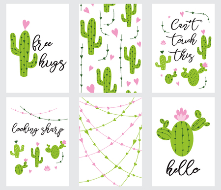 Set cute ready-to-use gift tags with cactus Printable collection of hand drawn in green colors