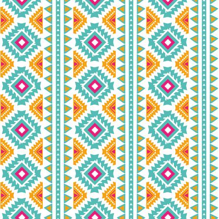 Modello etnico verticale tribale senza soluzione di continuità Sfondo astratto azteco Struttura messicana in colori arancioni rosa brillante vettore Vettoriali