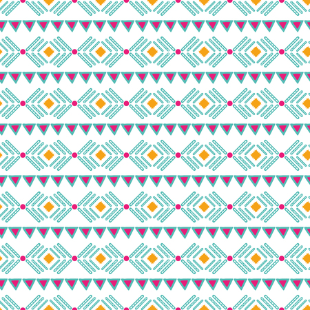 Vector tribal ethnic seamless pattern in bright pink orange colors Aztec geometric background. Mexican ornament texture Native american traditional design Folk geometric print for wallpaper wrap cloth