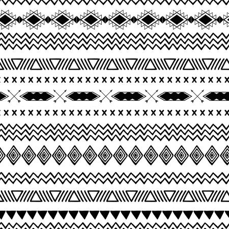 Seamless pattern etnico tribale Sfondo astratto azteco Struttura ornamentale messicana nel vettore di colore bianco nero