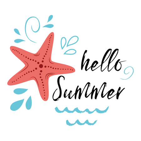 Sea poster with sea star fish phrase Hello summer, wave, seastar Vector typographic banner inspirational quote. Card for summer time, vacation. Cute print, label, logo, sticker, stamp, sign, badge Illustration