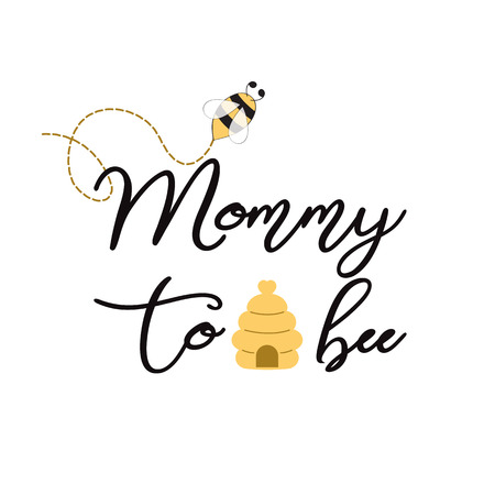 Baby shower invitation template with text Mommy to Bee Cute card design for Mothers day bees heart bee hive Stok Fotoğraf - 110094133