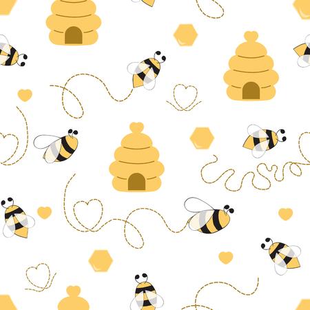 Naadloze patroon met bijen honing hart gemaakt in gele kleuren Leuke achtergrond in kids cartoon stijl Vector illustratie. Stof textielontwerp voor baby- of meisjesdoek Wallpaper wrap cover wraping pakket Vector Illustratie