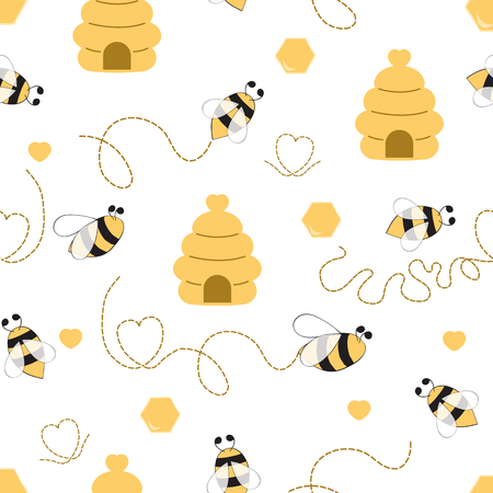 Seamless pattern with bee honey heart made in yellow colors Cute background in kids cartoon style Vector illustration. Fabric textile design for baby or girl cloth Wallpaper wrap cover wraping package Ilustração