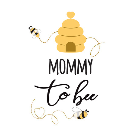 Baby shower invitation banner with text Mommy to Bee Cute card design for Mothers day bees heart bee hive