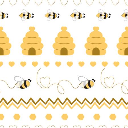 Modèle sans couture avec coeur de miel d'abeille en couleurs jaunes Fond mignon dans le style de dessin animé pour enfants Illustration vectorielle. Conception textile en tissu pour bébé ou fille