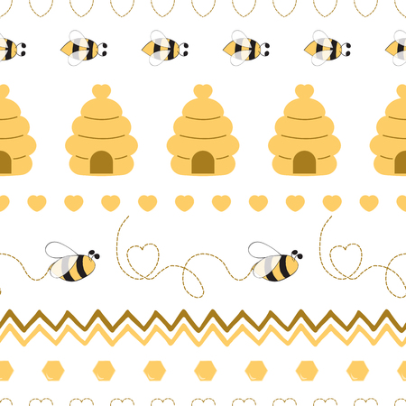 Seamless pattern with bee honey heart made in yellow colors Cute background in kids cartoon style Vector illustration. Fabric textile design for baby or girl cloth Wallpaper wrap cover wraping package Illustration