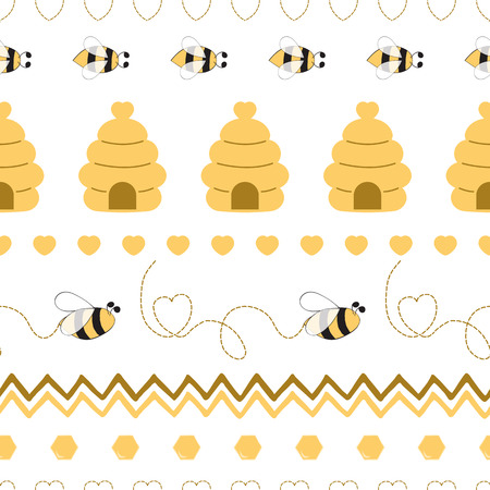 Seamless pattern with bee honey bee hive in vector cartoon children style yellow geometric 写真素材