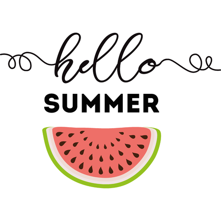 Hello Summer text on the watermelon shape summer background Calligraphic lettering element Vector illustration Summer vacation element for labels logos badges stickers icons Inspirational summer quote.