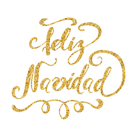 Merry Christmas. Cute hand drawn Christmas sign with in gold color isolated on white. Vector illustration. Phrase for banner, invitation, congratulation, cards, banners, print. Inscription in Spanish