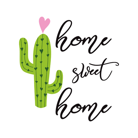 Home sweet home vector sign Cute hand drawn Prickly cactus print with inspirational quote Home decor