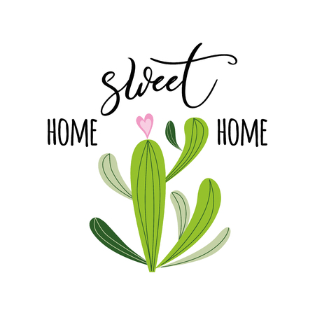 Home sweet home vector print Cute hand drawn Prickly cactus print with inspirational quote Home decor Illustration