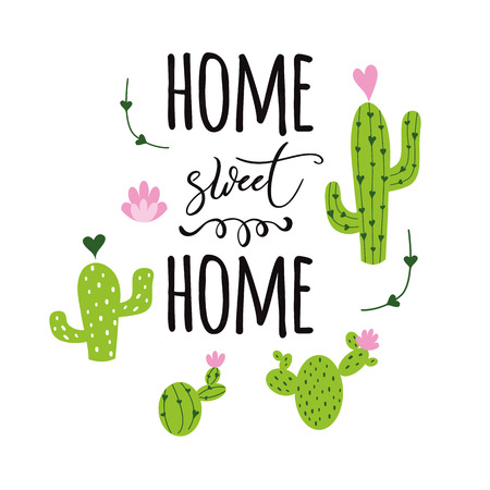 Home sweet home vector card Cute hand drawn Prickly cactus print with inspirational quote Home decor