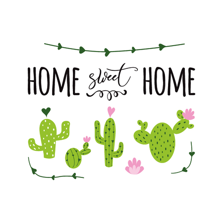 Home sweet home vector label Cute hand drawn Prickly cactus print with inspirational quote Home decor
