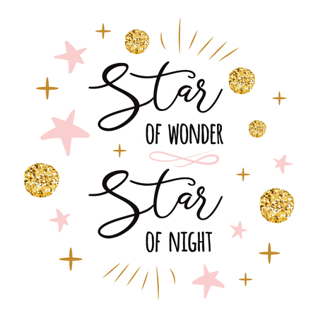 Estrella de la maravilla Estrella de la noche Lindo letrero de tiempo de Navidad con lindas estrellas doradas de colores dorados y rosados