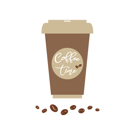 Vector poster with phrase Coffee time on the coffee paper cup Typography card lettering decor element Design for t-shirt bag prints Text coffee time. Coffee beans Coffee label sign symbol badge banner Illustration