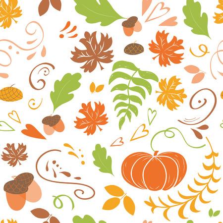 Fondo de otoño. Patrón sin fisuras de la caída de hojas de arce colorido calabaza