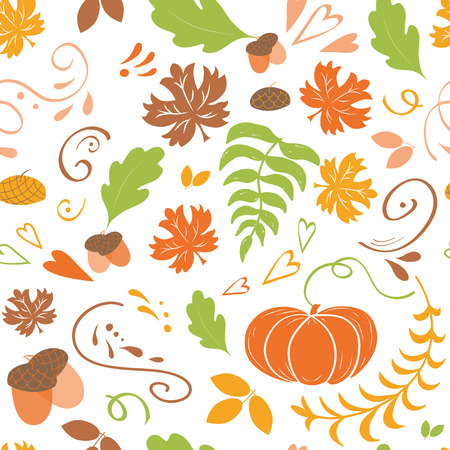 Autumn background. Seamless pattern of falling colorful maple leaves pumpkin