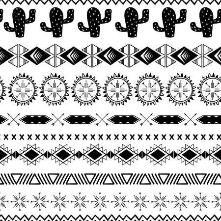 Vector seamless tribal ethnic pattern Aztec abstract background Mexican ornamental texture in black white color
