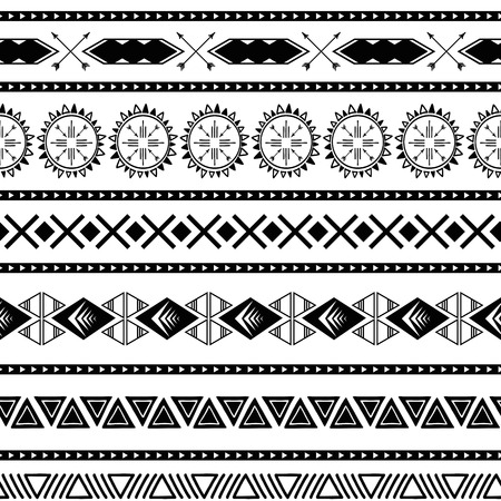 シームレスな部族の民族パターンアステカ幾何学的背景黒い白色のベクトルでメキシコの観賞用テクスチャ ベクターイラストレーション