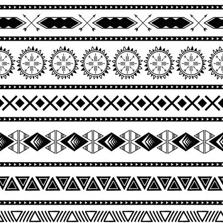 Patrones étnicos tribales sin fisuras Fondo geométrico azteca Textura ornamental mexicana en vector de color blanco negro Ilustración de vector