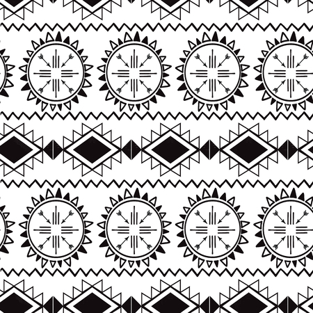 Seamless tribal ethnic pattern Aztec boho background Mexican ornamental texture in black white color vector  イラスト・ベクター素材