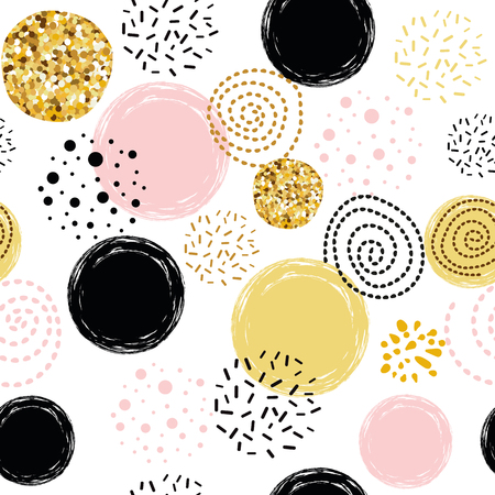 Cute seamless pattern polka dot abstract ornament decorated golden, pink, black hand drawn circles, round shapes Vector illustration for wallpaper, wrap Gold dots, sparkles, shining dots background