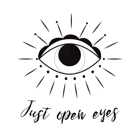 Hand drawn eye Doodle style. Tattoo design element. The third eye vector illustration.