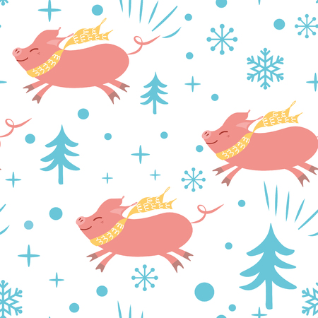 Seamless Christmas pattern with cute cartoon pig snowflakes blue pink colors Vector illustration Cute New year backround wallpaper wrap cover 2019 year