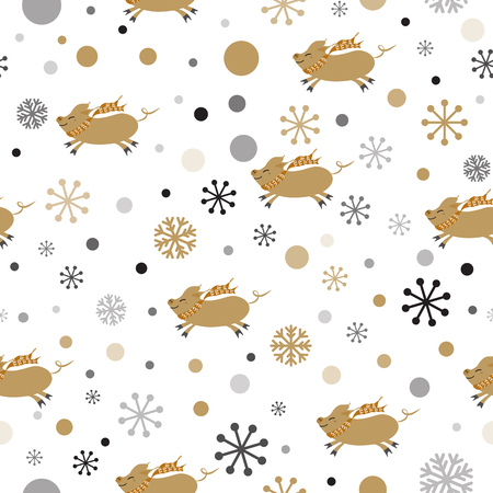 Seamless Christmas pattern with cute cartoon pig snowflakes gold black colors Vector illustration Cute New year backround wallpaper wrap cover Illustration