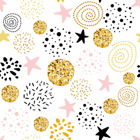 Vector seamless pattern polka dot stars abstract ornament decorated golden, pink, black hand drawn elements
