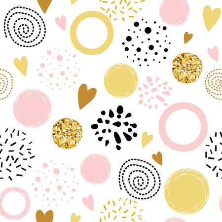 Ornement abstrait à pois de modèle sans couture de vecteur décoré de formes rondes dessinées à la main dorées, roses, noires Banque d'images
