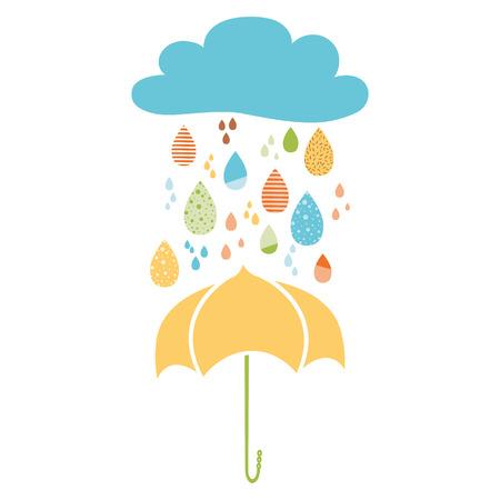 Funny colorful drops of rain clouds umbrella Vector autumn nature banner Kids fall background Autumn doodles card Season of the rain, illustration, cute color doodle print wrap scrap paper label