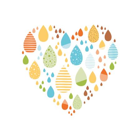 Drôle de gouttes colorées de rainin forme de coeur Bannière de nature automne vecteur Enfants fond d'automne Carte de griffonnages d'automne Saison de la pluie, illustration, jolie couleur doodle impression wrap étiquette de papier brouillon