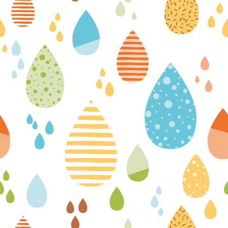 Funny colorful drops of rain Vector autumn seamless pattern. Kids fall background Hand drawn printable design Reklamní fotografie - 110093869